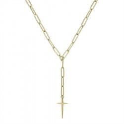 Różaniec pozłacany naszyjnik łańcuch z krzyżem