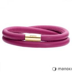 Różowa bransoletka damska skórzana