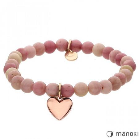 różowa bransoletka damska z kamieni naturalnych