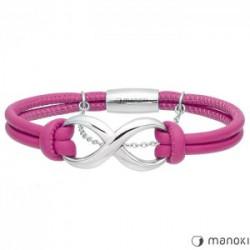 różowa, skórzana bransoletka damska z symbolem nieskończoności