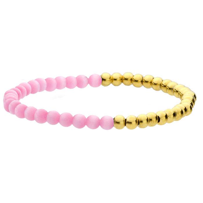 Różowo-złota bransoletka damska, kamień naturalny i stal szlachetna