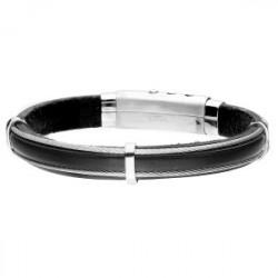 Skórzana bransoleta męska czarna z linkami