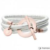 Skórzana bransoletka damska w kolorze srebrnym