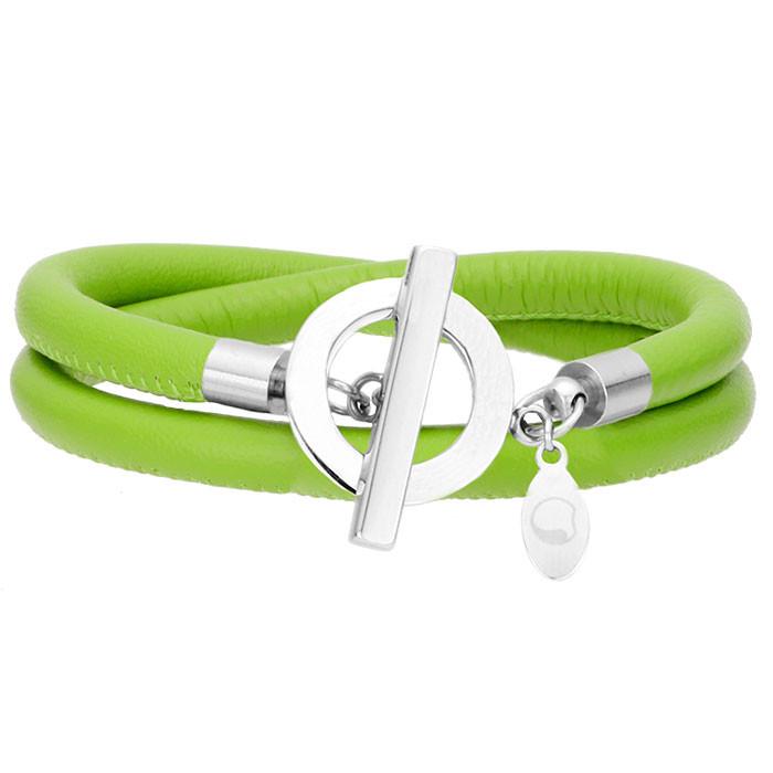 Skórzana bransoletka damska w kolorze zielonym