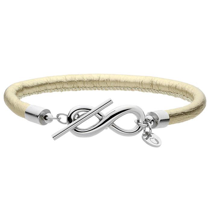Skórzana bransoletka damska z symbolem nieskończoności, kolor złoty