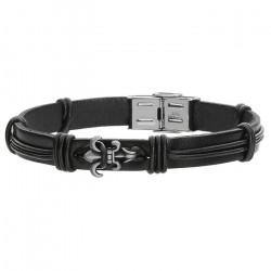 Skórzana bransoletka męska w kolorze czarnym