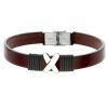 Skórzana bransoletka męska z symbolem X