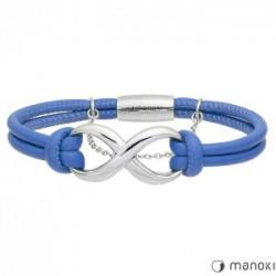 skórzana, niebieska bransoletka damska ze znakiem nieskończoności