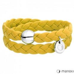 skórzana, żółta bransoletka damska