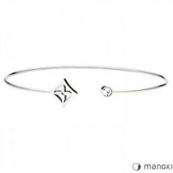 srebrna bransoletka minimalistyczna z kwiatuszkiem i cyrkonią