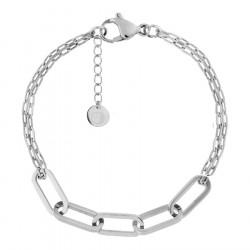 Srebrna bransoletka z modnym łańcuchem ze stali szlachetnej