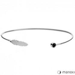 srebrna bransoletka z piórkiem, czarny onyks