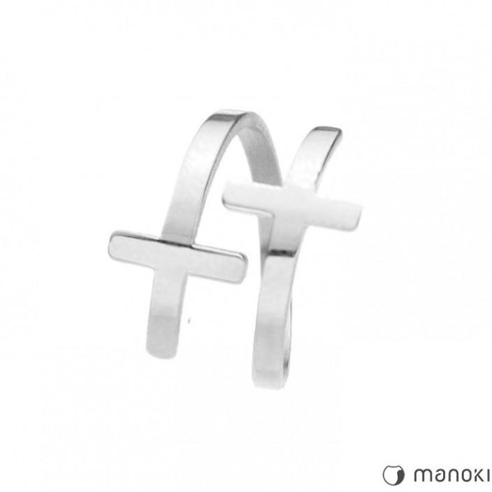 srebrna obrączka z krzyżykami