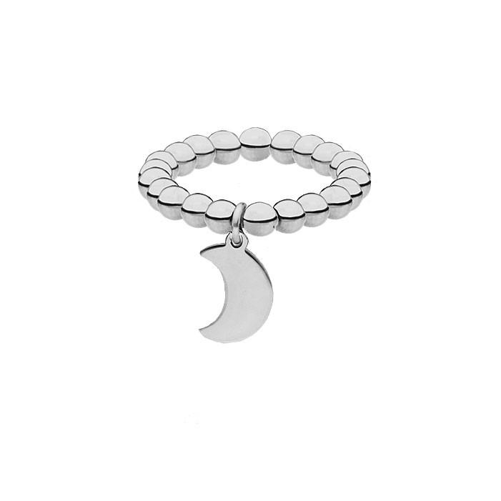 Srebrna obrączka z kuleczek, księżyc
