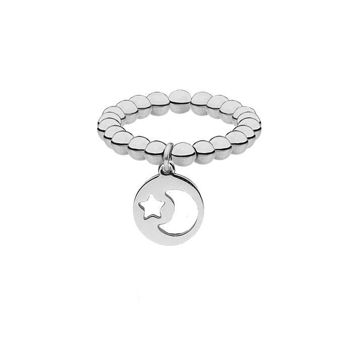 Srebrna obrączka z kuleczek, motyw księżyca i gwiazdki