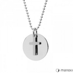 Srebrny medalion z krzyżem MODERN na kulkowym łańcuszku
