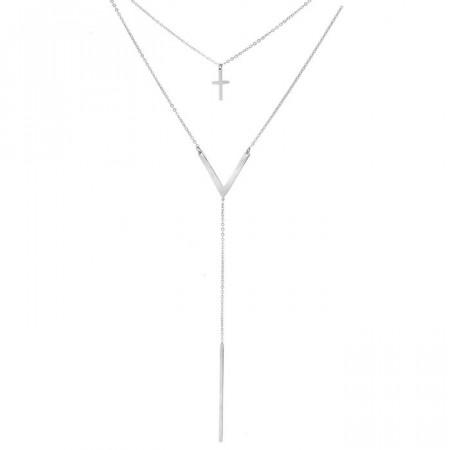 Srebrny naszyjnik damski z krzyżykiem i patyczkiem