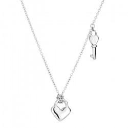 Srebrny naszyjnik damski z serduszkiem i kluczykiem