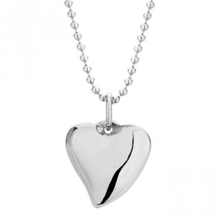 Srebrny naszyjnik damski ze stali szlachetnej z sercem