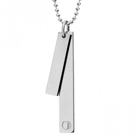 Srebrny naszyjnik SIMPLE z dwóch blaszek na kulkowym łańcuszku