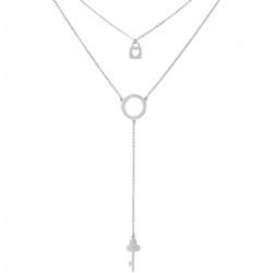 Srebrny naszyjnik z kluczykiem, kłódką i kółeczkiem, symbol karmy