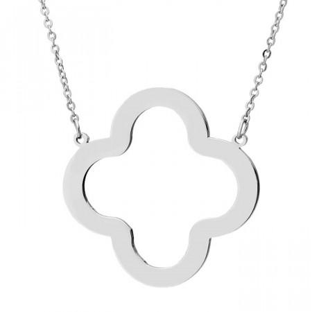 Srebrny naszyjnik z motywem kwiatu, koniczynka