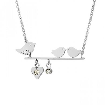 Srebrny naszyjnik z motywem ptaków, cyrkonia