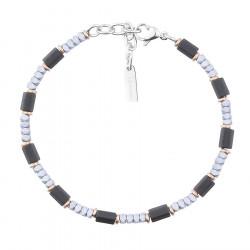 Srebro czarne hematyty subtelna bransoletka dla mężczyzn
