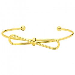 Subtelna złota bransoletka damska z kokardką
