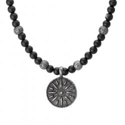 Szara antyczna moneta naszyjnik męski czarne kulki onyks