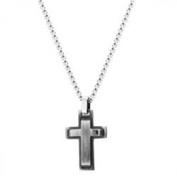 Szary krzyż z cyrkonią naszyjnik stal szlachetna