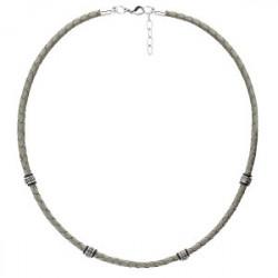 Szary naszyjnik męski rzemień, beads
