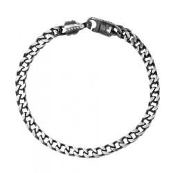 Szary przecierany łańcuch bransoletka męska stal szlachetna