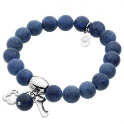 Ukojenia, lapis lazuli, niebieska bransoletka z kluczykiem i koniczynką