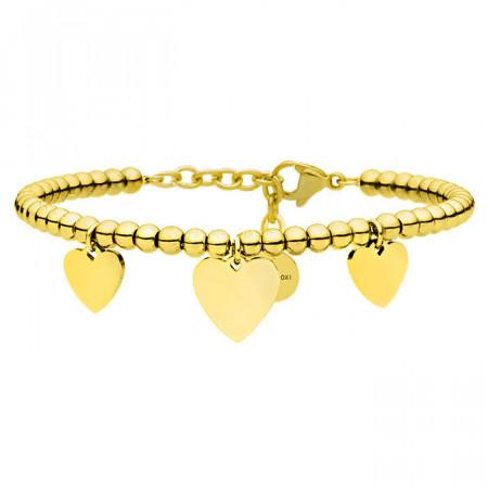 Urocza, złota bransoletka z serduszkami