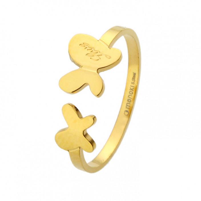 Urocza, złota obrączka z motylkami