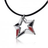 WA039C wisiorek męski w kształcie gwiazdy, czarno-czerwony