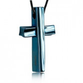 WA059N wisiorek męski, niebieski krzyż