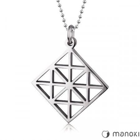 WA114 srebrny naszyjnik w kształcie rombu, kulkowy łańcuszek