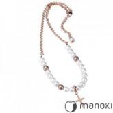 WA117R naszyjnik damski z krzykiem i perłami Swarovski, różowe złoto