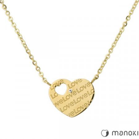WA175G złoty naszyjnik damski z serduszkiem z napisem Love