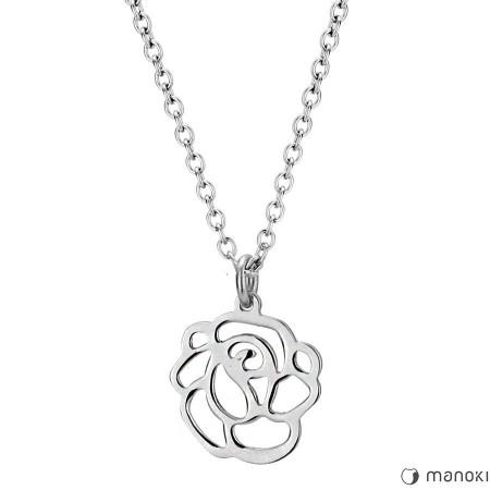 WA225S minimalistyczny naszyjnik damski z ażurową różą, srebrny kolor