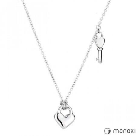 WA228 srebrny naszyjnik damski z serduszkiem i kluczykiem