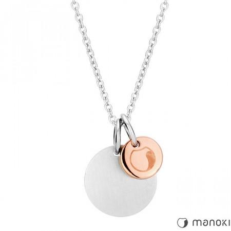WA230SR naszyjnik damski z medalikami w kolorze różowego złota i srebrnym