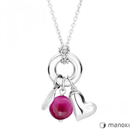 WA231SP naszyjnik z różowym agatem, symbol karmy, serduszko