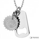WA241 naszyjnik, srebrny nieśmiertelnik z otwieraczem