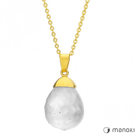WA271GW naszyjnik damski z białym kwarcem, złoty łańcuszek