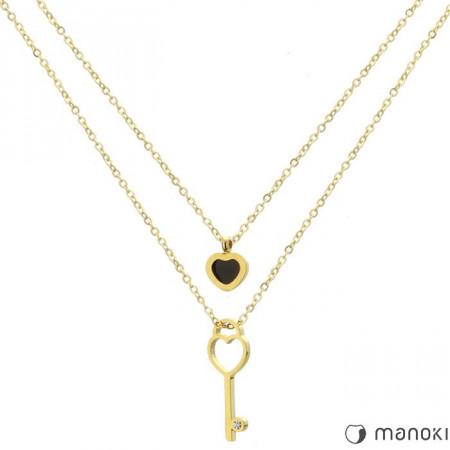WA280G złoty naszyjnik z kluczykiem i serduszkiem