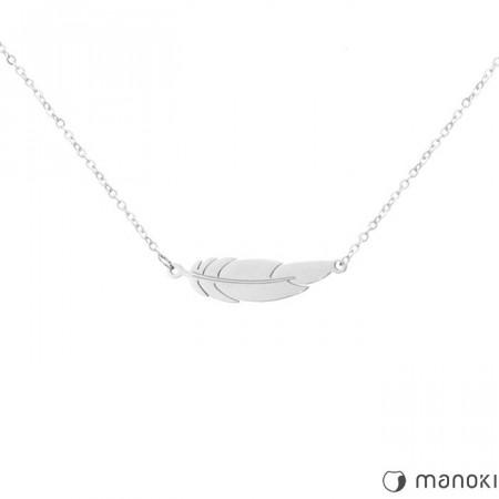 WA282 damski naszyjnik z piórkiem, kolor srebrny