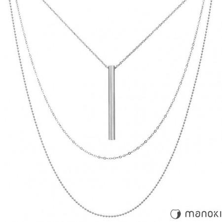 WA299 srebrny potrójny naszyjnik z patyczkiem